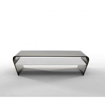 Amaranto Coffee Table with Extra Clear White Glass Shelf, Grey