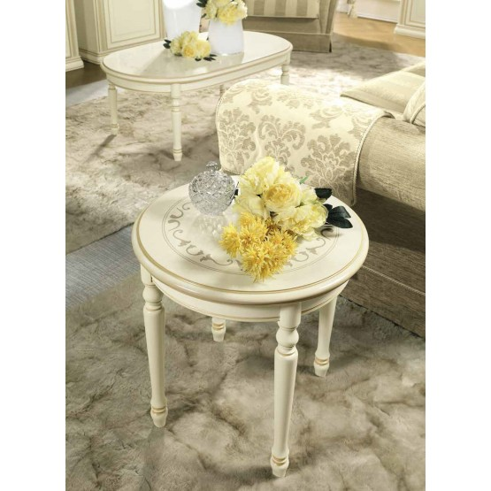 Siena Round Corner Table, Ivory photo