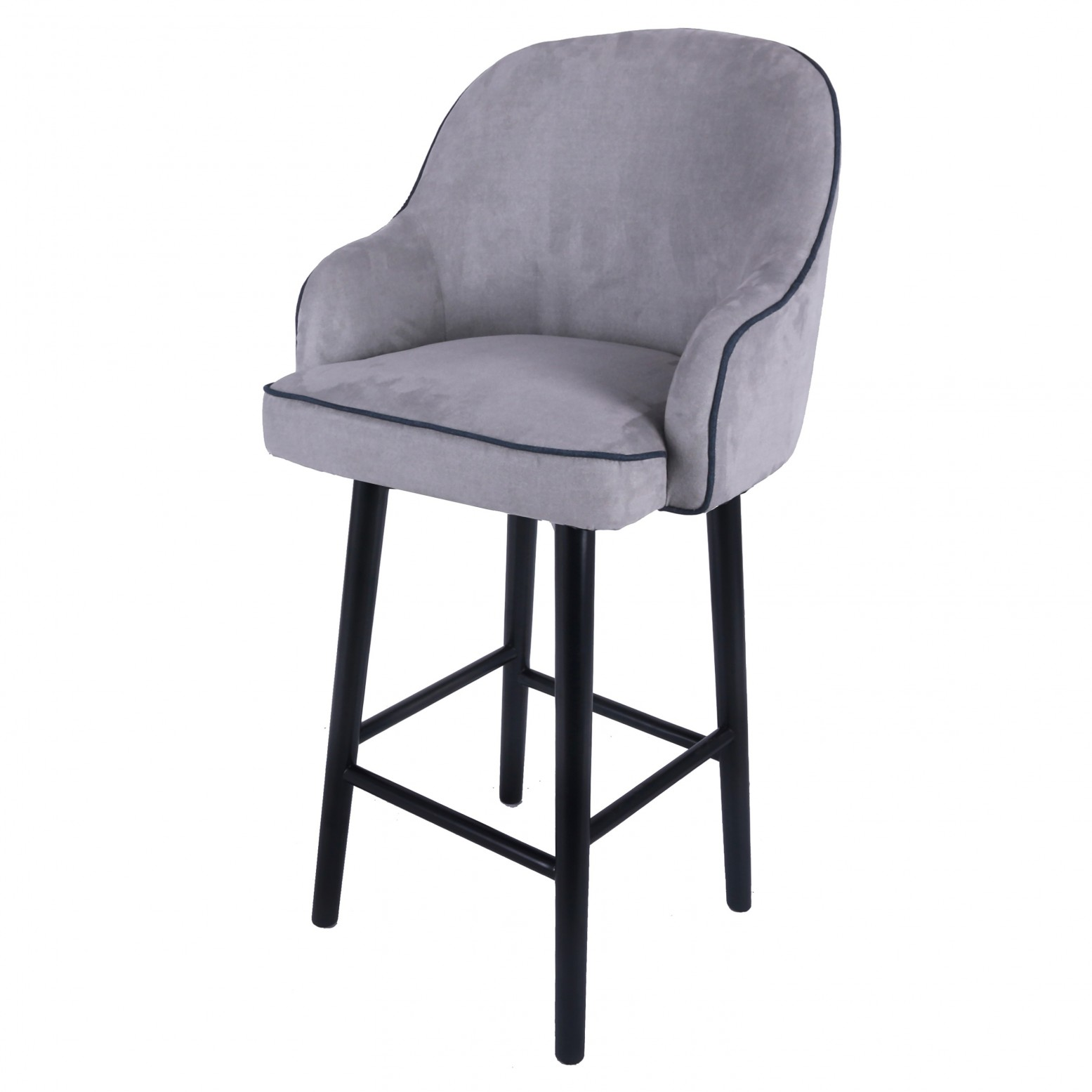 Marvelous Terry Fabric Swivel Bar Stool Black Legs Denim Dove Gray Uwap Interior Chair Design Uwaporg