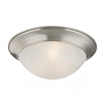 2 Light Flushmount Lamp in Brushed Nickel