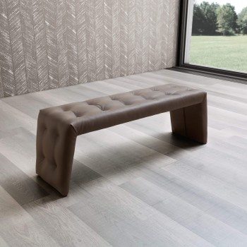 Luna Bench, Brown Eco Leather