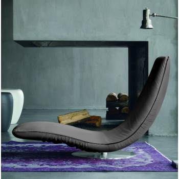 Ricciolo Chaise Lounge, Ash Grey Eco-Leather