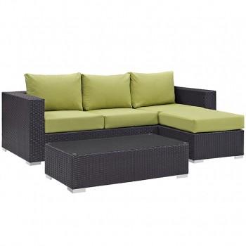 Convene 3 Piece Outdoor Patio Sofa Set, Espresso, Peridot by Modway