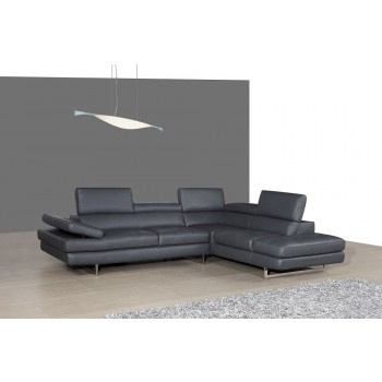 A761 Italian Leather Sectional, Right Arm Chaise Facing, Slate Grey by J&M Furniture