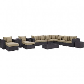Convene 11 Piece Outdoor Patio Sectional Set, Espresso, Mocha by Modway
