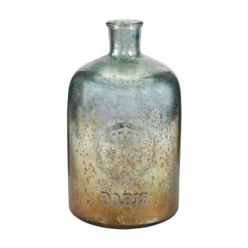 12-Inch Aqua Antique Mercury Glass Bottle
