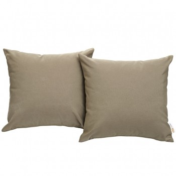 Convene Two Piece Outdoor Patio Pillow Set, Espresso, Mocha by Modway
