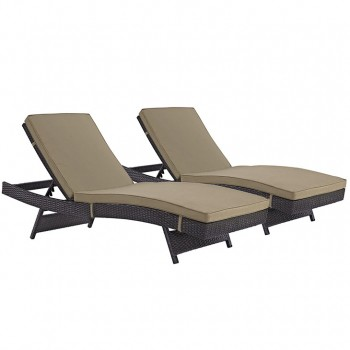 Convene Chaise Outdoor Patio, Set of 2, Espresso, Mocha by Modway