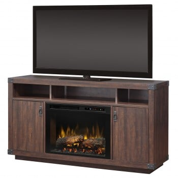 """Dale Media Console, Grainery Brown Finish, Realogs (XHD) 26"""" Firebox"""