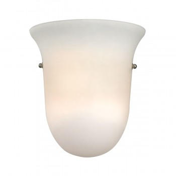 1 Light Wall Sconce Lamp in Brushed Nickel and White Glass 2
