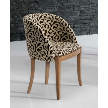 4390 Dining Arm Chair, Brown Base, Beige + Brown Upholstery
