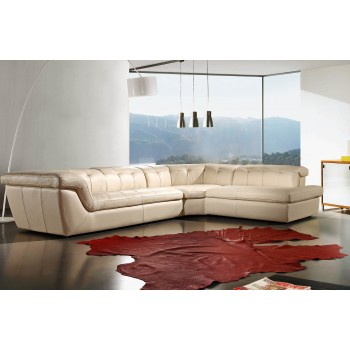 397 Italian Leather Sectional, Right Arm Chaise Facing, Beige by J&M Furniture