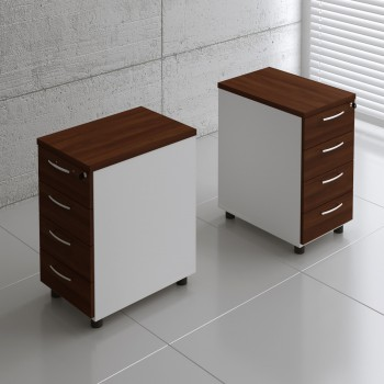 Basic KKT64 Fixed Pedestal w/4 Drawers, White + Lowland Nut