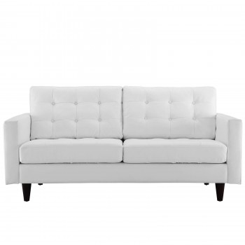Empress Bonded Leather Loveseat, White by Modway