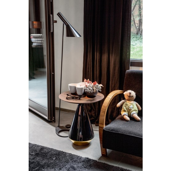 Amira Side Table, Glossy Black and Gold Ceramic Base, Canaletto Walnut Wood Top photo