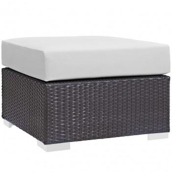 Convene Outdoor Patio Fabric Square Ottoman, Espresso, White by Modway