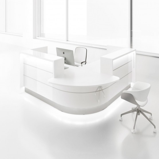 Valde LAV102L Reception Desk, High Gloss White photo