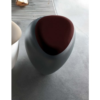 Ios Pouf, Anthracite Polyethylene Base, Dark Brown Orchidea Fabric