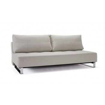 Supremax Deluxe Excess Queen Sofa Bed, 527 Mixed Dance Natural Fabric + Chromed Legs