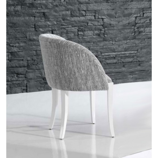 4390 Dining Arm Chair, White Base, Grey Upholstery photo