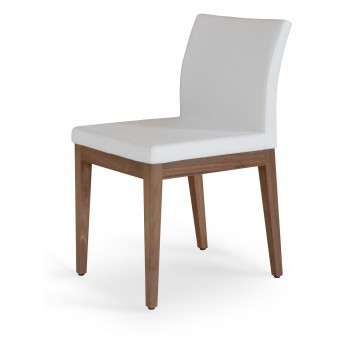 Aria Wood Dininng Chair, American Walnut Wood, White PPM by SohoConcept Furniture