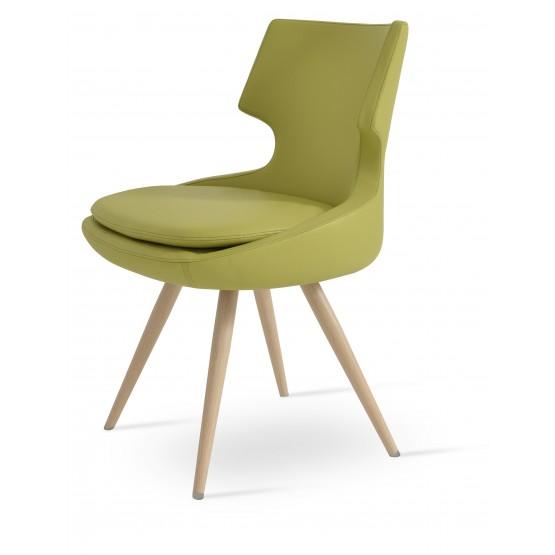 Patara Star Dining Chair, Natural Veneer Steel, Green Leatherette photo