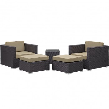Convene 5 Piece Outdoor Patio Sectional Set, Сomposition 1, Espresso, Mocha by Modway