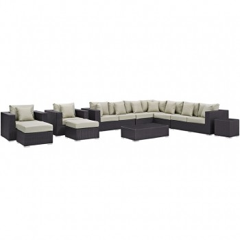 Convene 11 Piece Outdoor Patio Sectional Set, Espresso, Beige by Modway