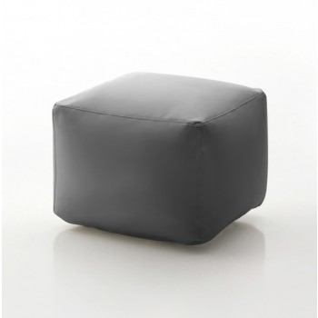 Truly Small Pouf, Ash Grey Eco-Leather