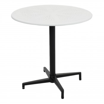 Colt Metal Folding Round Table, White + Black by NPD (New Pacific Direct)
