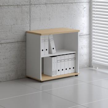 Basic K2504 Open Storage, White + Beech