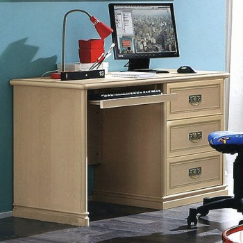 Nostalgia 3-Drawer Computer Desk w/Keyboard Tray, Ash
