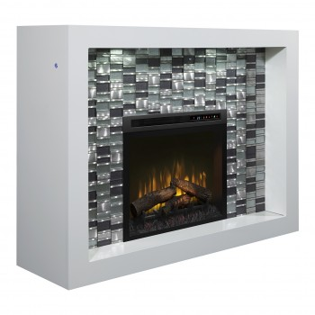 Crystal Mantel Electric Fireplace, White Finish, Realogs (XHD28) Firebox
