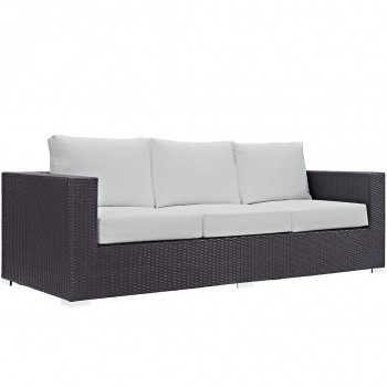 Convene Outdoor Patio Sofa, Espresso, White by Modway
