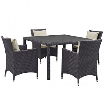 Convene 5 Piece Outdoor Patio Dining Set, Espresso, Beige by Modway