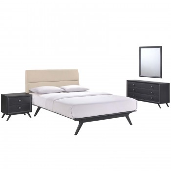 Addison 4 Piece Queen Bedroom Set, Black Beige by Modway