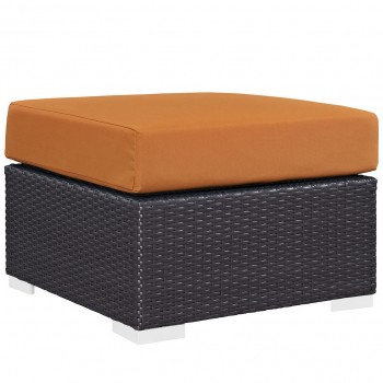 Convene Outdoor Patio Fabric Square Ottoman, Espresso, Orange by Modway