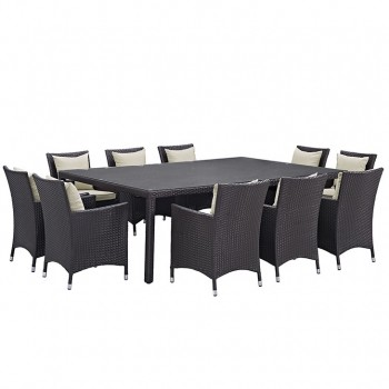 Convene 11 Piece Outdoor Patio Dining Set, Сomposition 2, Espresso, Beige by Modway