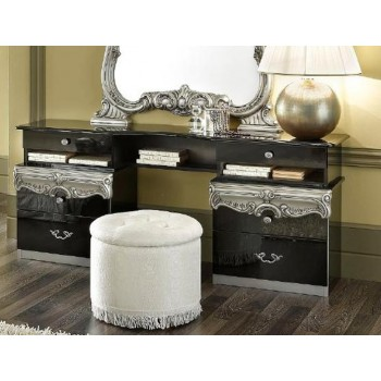 Barocco Vanity Dresser, Black + Silver