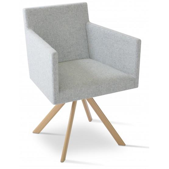 Harput Sword Arm Chair, Natural Veneer Steel, Silver Camira Wool photo