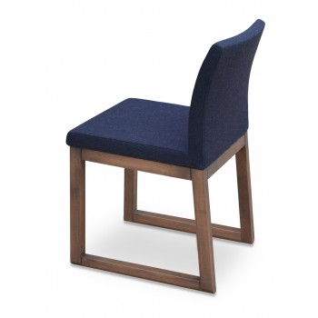 Aria Sled Wood Dininng Chair, Solid Beech Walnut Finish, Charcoal Wool by SohoConcept Furniture