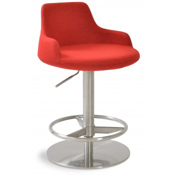 Dervish Piston Stool, Red Camira Tweed, Full Foot Rest by SohoConcept Furniture