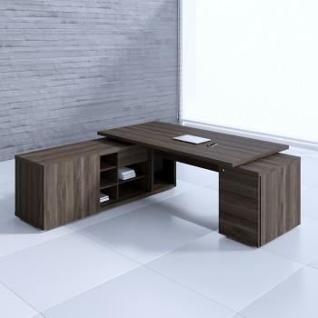 Mito Executive Desk w/Managerial Side Storage + Pedestal MIT1KD, Dark Sycamore + Black High Gloss