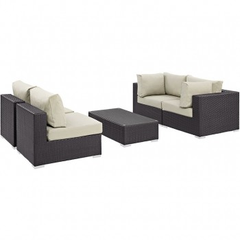 Convene 5 Piece Outdoor Patio Sectional Set, Сomposition 2, Espresso, Beige by Modway
