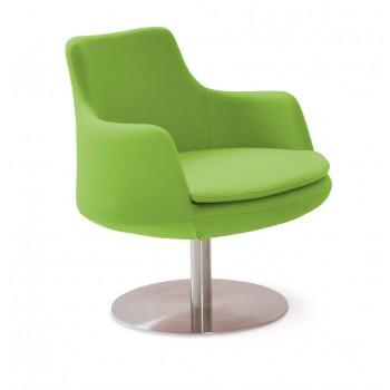 Dervish Lounge Swivel Round Armchair, Pistachio Camira Wool by SohoConcept Furniture