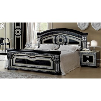Aida King Size Bed, Black + Silver
