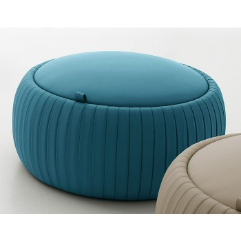 Plisse Small Pouf, Night Blue Eco-Leather
