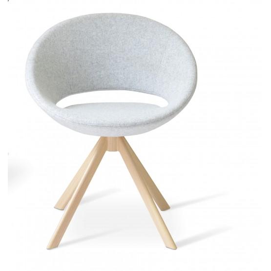 Crescent Sword Chair, Natural Veneer Steel, Silver Camira Wool photo