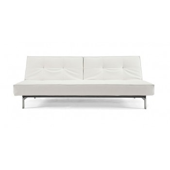 Splitback Sofa Bed, 588 Leather Look White PU + Stainless Steel Legs