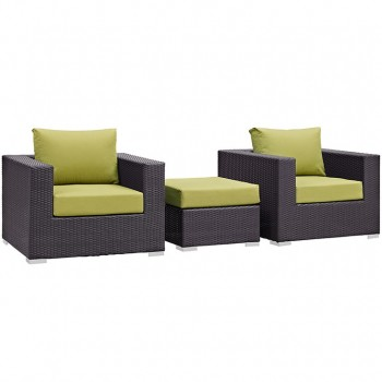 Convene 3 Piece Outdoor Patio Sectional Set, Espresso, Peridot by Modway